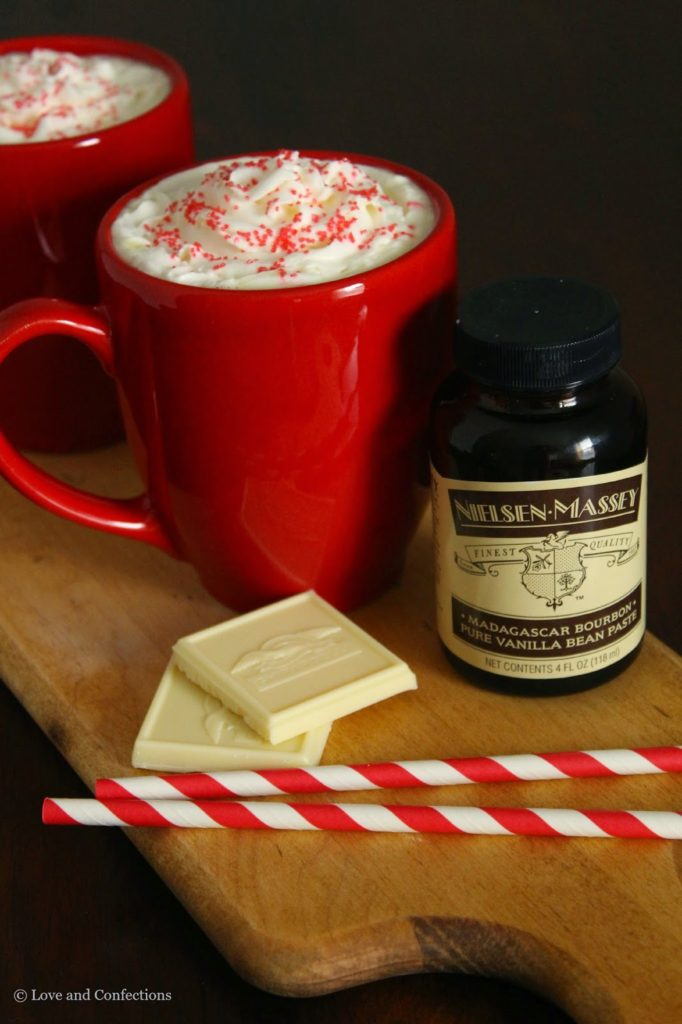 Vanilla Bean White Hot Chocolate from LoveandConfections.com #VanillaWeek