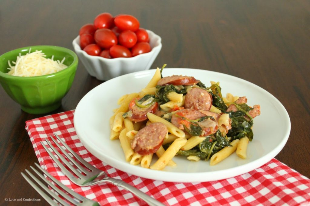 One-Pot Sausage, Spinach, Chard and Kale Pasta from LoveandConfections.com #HillshireSausage