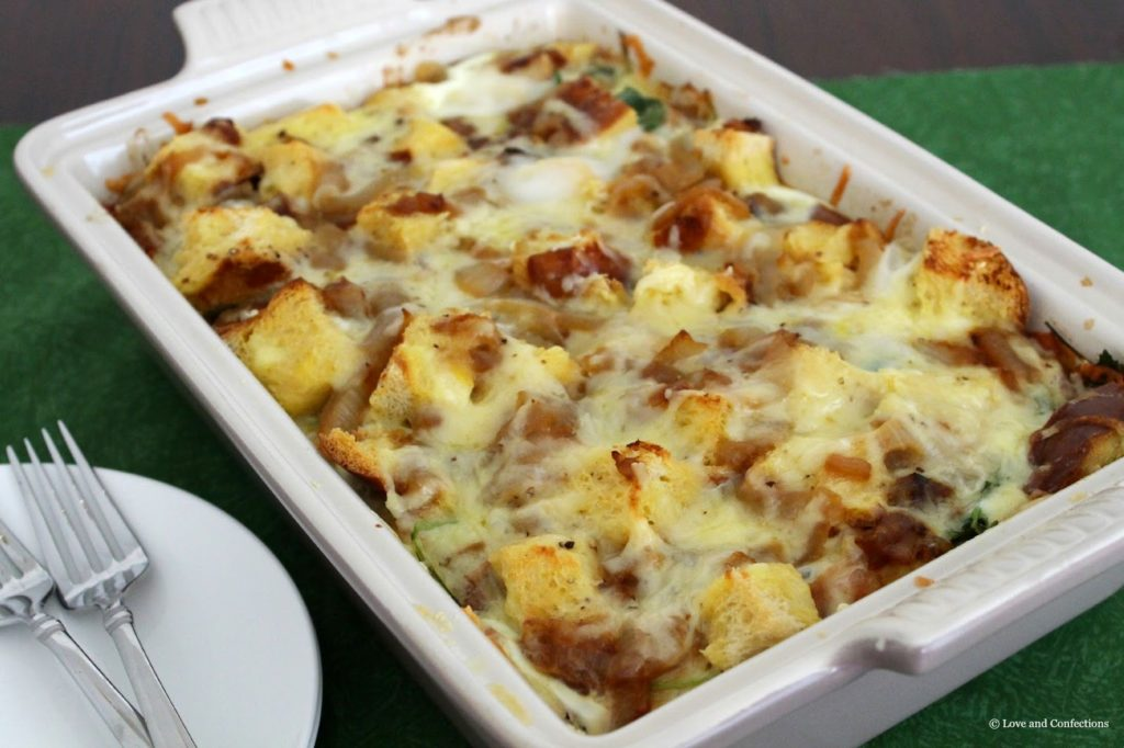Caramelized Onion, Kale, Bacon and Cheddar Strata from LoveandConfections.com for #BrunchWeek