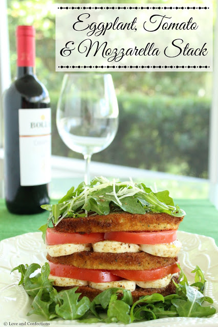 Eggplant, Tomato and Mozzarella Stack from LoveandConfections.com #FWCon #WisconsinCheese
