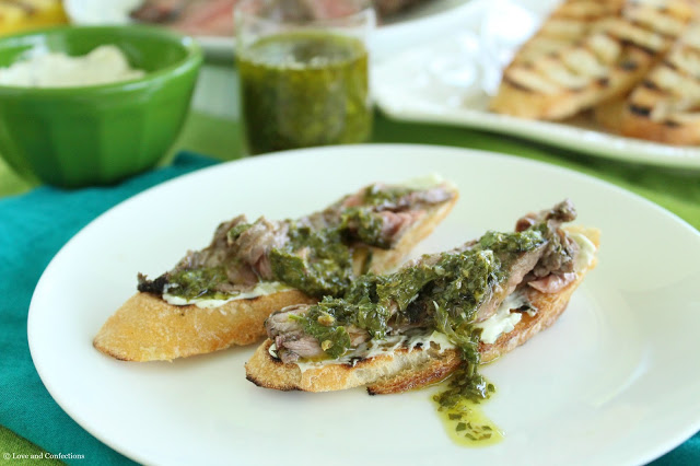 Chimichurri Steak Crostini from LoveandConfections.com