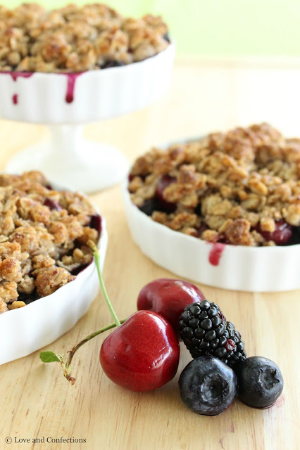 Gluten-Free Blackberry, Blueberry and Cherry Crisp from LoveandConfections.com