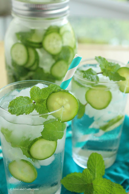 Cucumber Mint Water from LoveandConfections.com