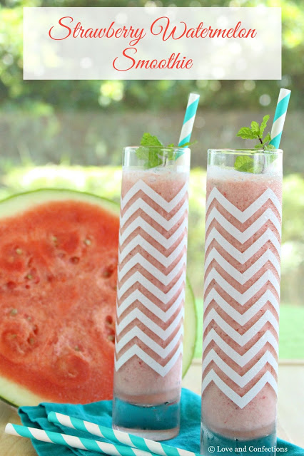 Strawberry Watermelon Smoothie from LoveandConfections.com #LnCSmoothieSaturdays