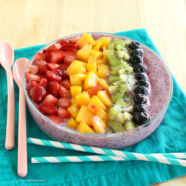 Rainbow Smoothie Bowl from LoveandConfections.com #LnCSmoothieSaturdays