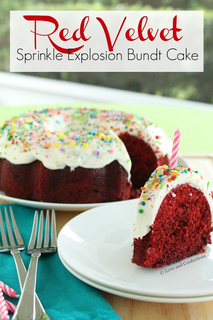 Red Velvet Sprinkle Explosion Bundt Cake #BundtBakers from LoveandConfections.com