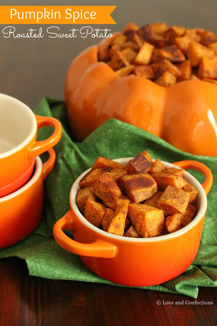 Pumpkin Spice Roasted Sweet Potatoes from LoveandConfections.com