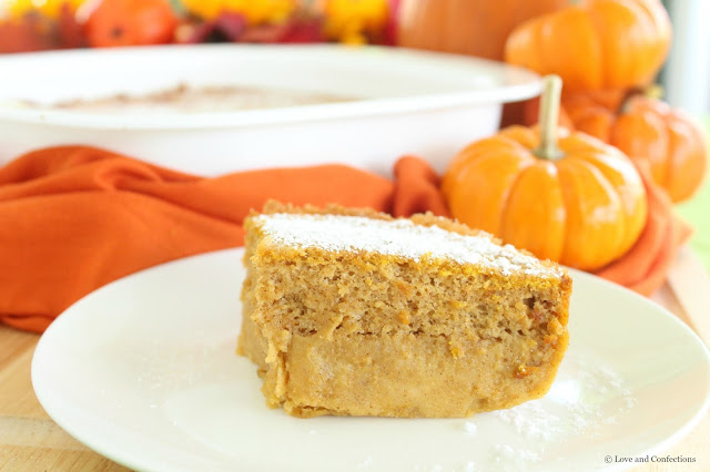 Pumpkin Magic Custard Cake from LoveandConfections.com #PumpkinWeek