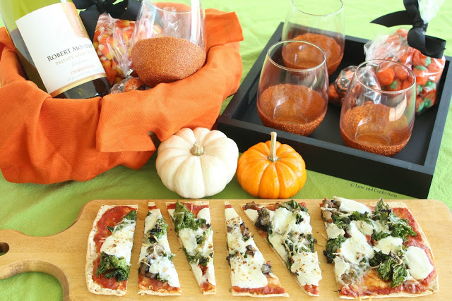 DIY Glitter Wine Glasses and Mushroom Kale Flatbread Pizzas from LoveandConfections.com #BeenBooed #HalloWINE