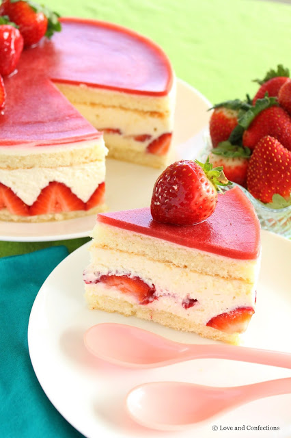 Strawberry Fraisier from LoveandConfections.com #SundaySupper