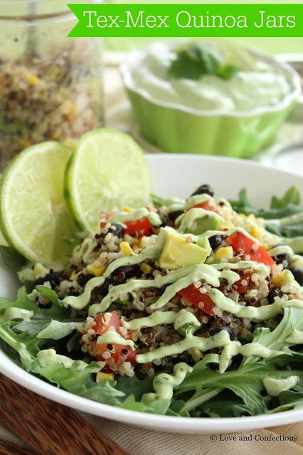 Tex-Mex Quinoa Jars from Loveandconfections.com #StonyfieldBlogger