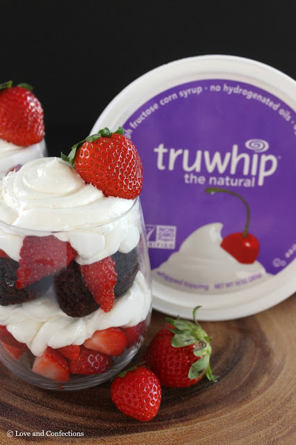 Truwhip Strawberry Brownie Trifle from LoveandConfections.com