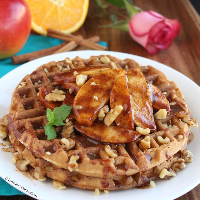 Oatmeal Walnut Waffles with Fried Apples by LoveandConfections.com #BrunchWeek
