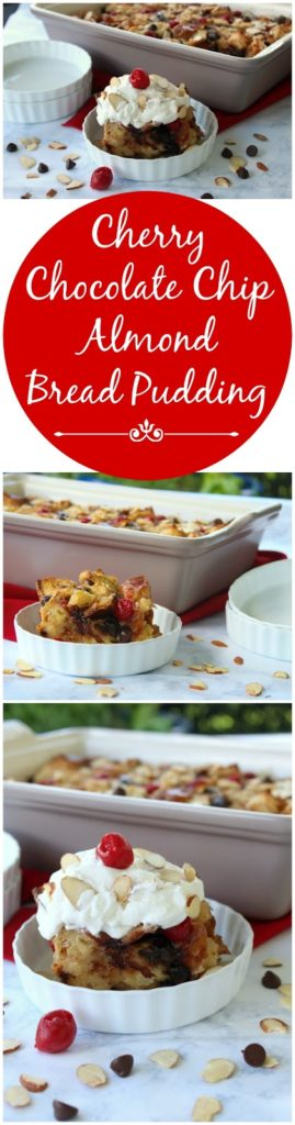 Cherry Chocolate Chip Almond Bread Pudding from LoveandConfections.com