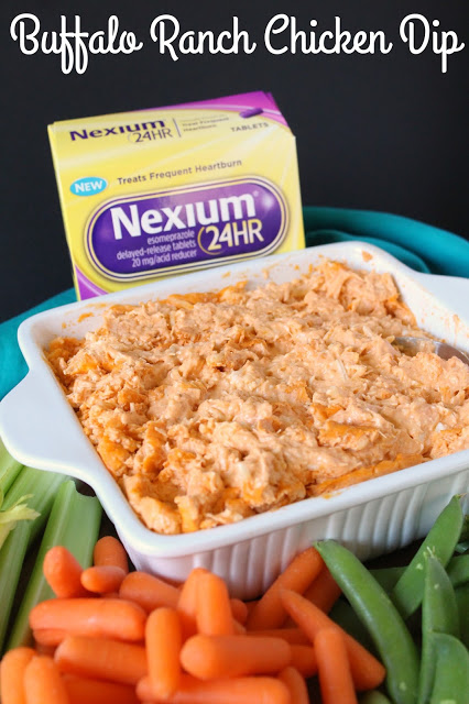 Buffalo Ranch Chicken Dip from LoveandConfections.com #MakeHeartburnHistory