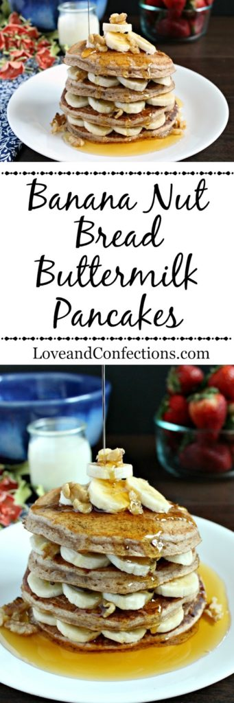 Banana Nut Bread Buttermilk Pancakes from LoveandConfections.com #BrunchWeek #sponsored