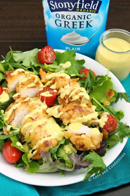Almond Chicken Salad with Honey Mustard Yogurt Dressing from LoveandConfections.com #StonyfieldBlogger