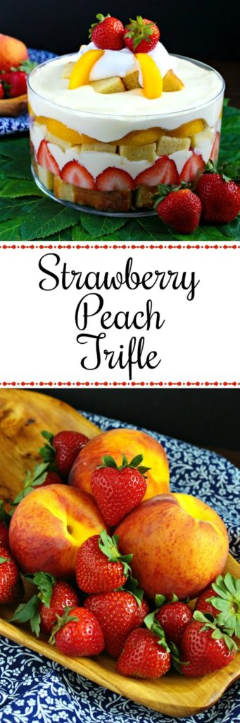 Strawberry Peach Pound Cake Trifle from LoveandConfections.com
