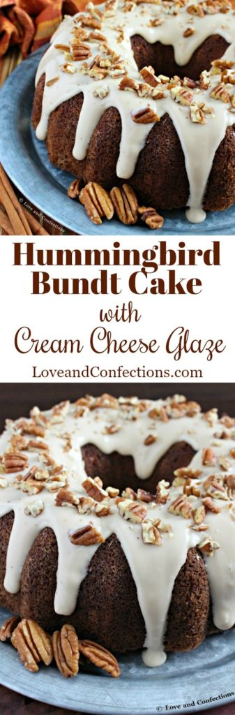 Hummingbird Bundt Cake with Cream Cheese Glaze from LoveandConfections.com #BundtBakers