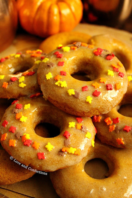 Maple Glazed Pumpkin Spice Doughnuts from LoveandConfections.com #PumpkinWeek