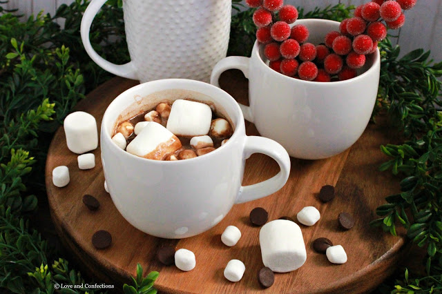 Slow Cooker Dark Hot Chocolate from LoveandConfections.com