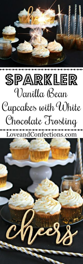 Sparkler Vanilla Bean Cupcakes with White Chocolate Frosting from LoveandConfections.com