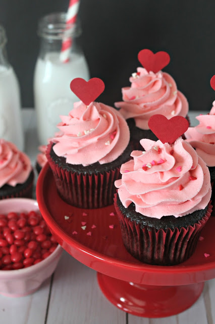 Red Hot Cinnamon Chocolate Cupcakes from LoveandConfections.com