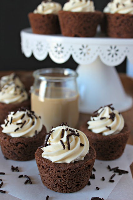 Chocolate Irish Cream Cheesecake Cookie Cups from LoveandConfections.com
