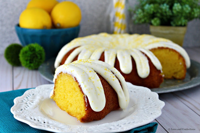 Easy Lemon Pudding Bundt Cake from LoveandConfections.com