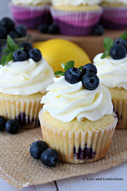 Blueberry Lemon Cupcakes with Cream Cheese Frosting from LoveandConfections.com #FreshFromFlorida #sponsored