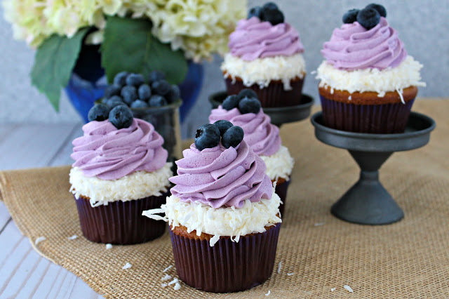 Coconut Cupcakes with Coconut and Blueberry Frosting from LoveandConfections.com #BrunchWeek