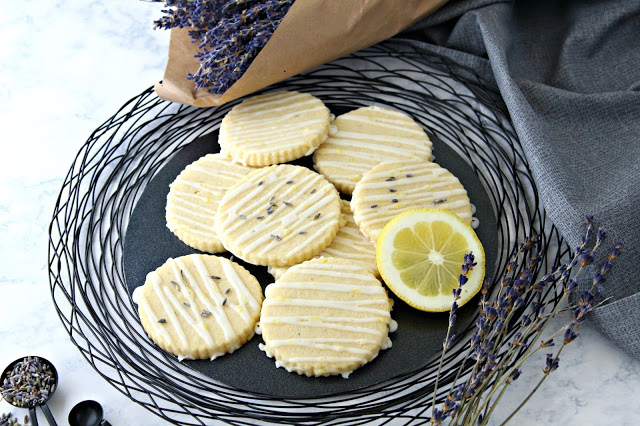 Lemon Lavender Glazed Sugar Cookies from LoveandConfections.com