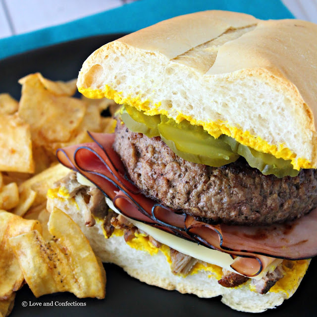 Cuban Sandwich Cheeseburger from LoveandConfections.com #BurgerMonth