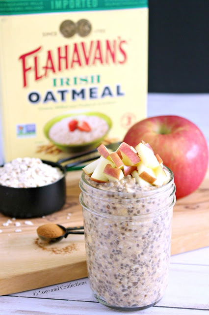 Apple Butter Overnight Chia Oatmeal from LoveandConfections.com #AppleWeek #sponsored