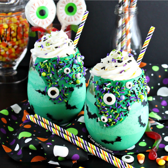 Halloween Green Monster Milkshakes from LoveandConfections.com #sponsored