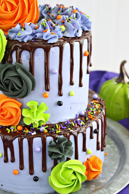 Purple Velvet Halloween Layer Cake from LoveandConfections.com #HalloweenTreatsWeek #ad