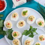 A Southern classic gets a twist when combining deviled eggs and pimento cheese. This make-ahead appetizer is perfect for any holiday, brunch or snack. Farmhouse Cheddar from the Cabot Legacy Collection is the star in this ultimate comfort food.