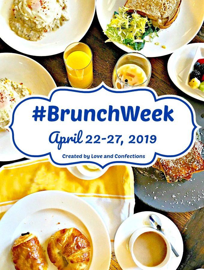 BrunchWeek logo vertical with brunch food background