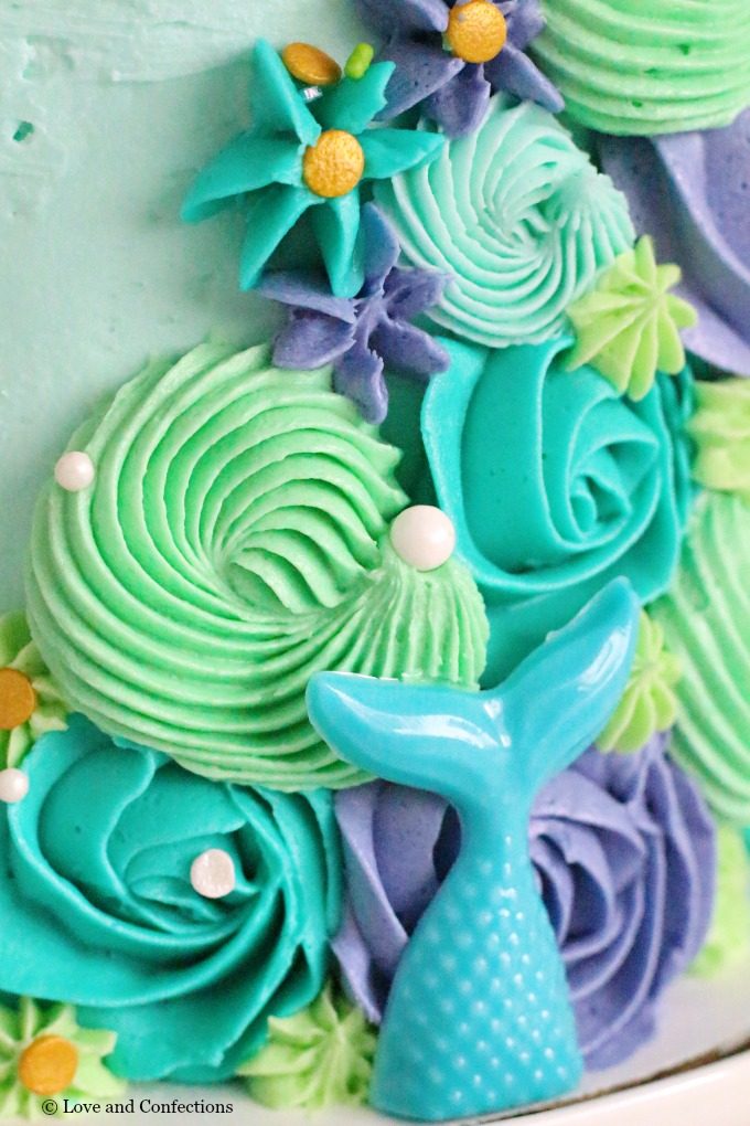 Mermaid layer cake frosting swirls