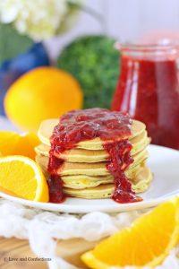 Orange Buttermilk Pancakes with Strawberry Sauce