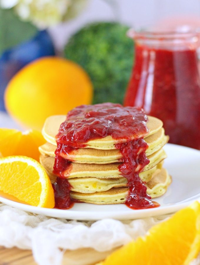 Orange Buttermilk Pancakes with Strawberry Sauce