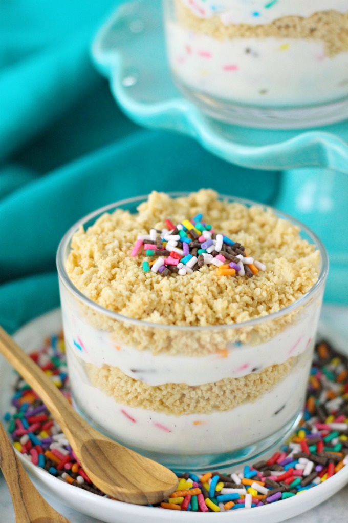 Funfetti Dirt Cups - layered homemade vanilla bean pudding, golden oreos, and colorful sprinkles