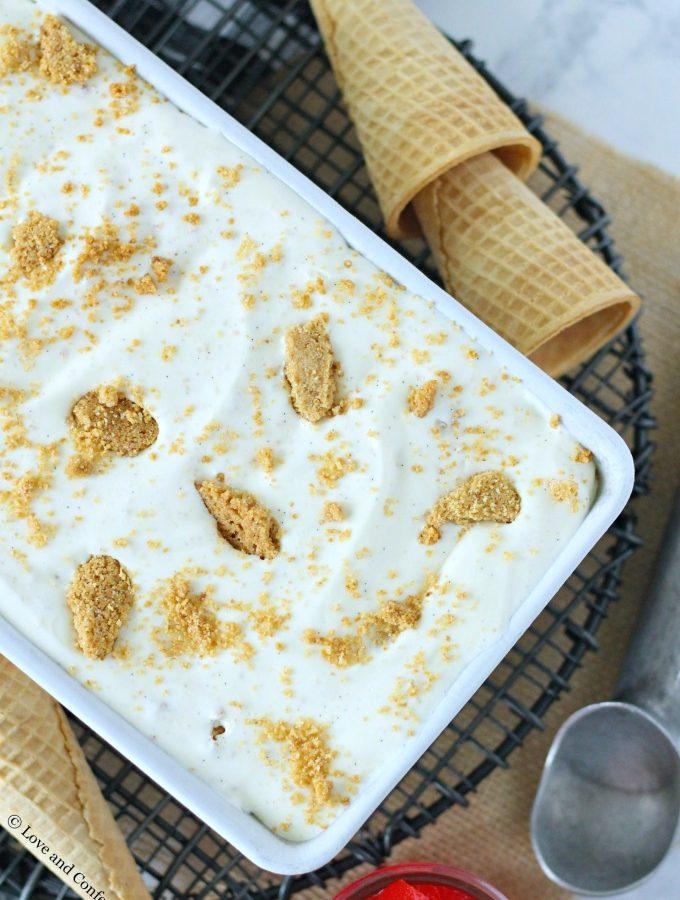 No-Churn Cheesecake Ice Cream with Graham Cracker Crust