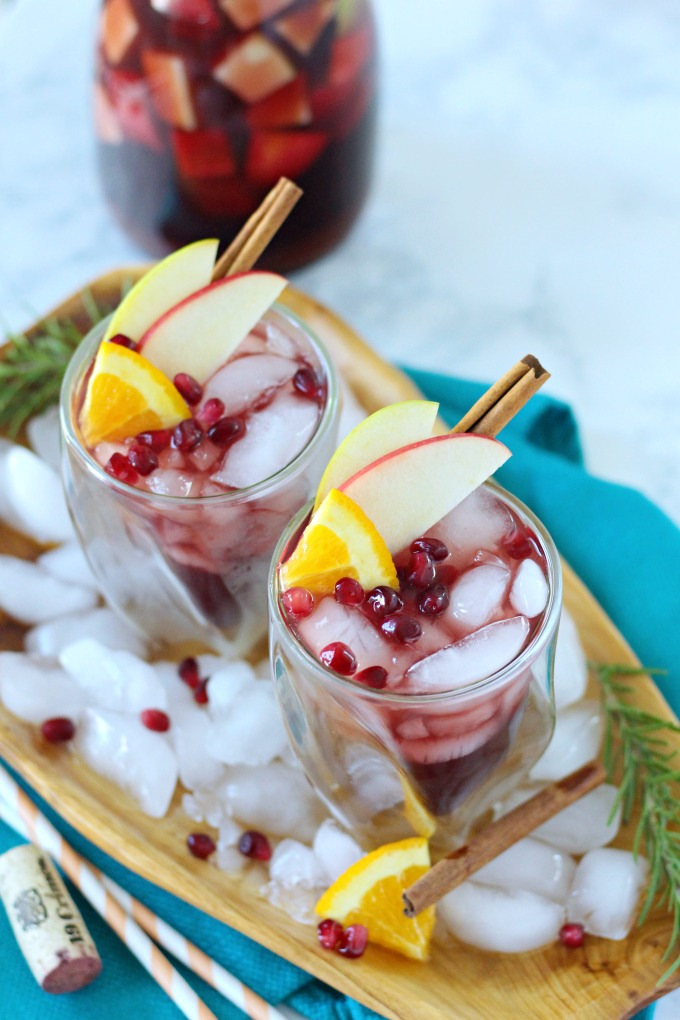 Pumpkin red sangria with apples and pumpkin pie syrup
