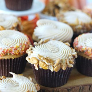 Pumpkin Pecan Cupcakes with Cinnamon Cream Cheese Frosting