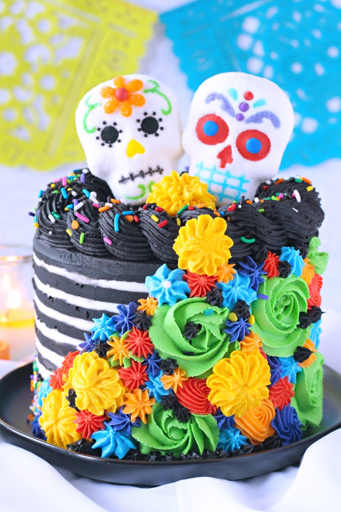 Sugar Skull Layer Cake with piped buttercream marigolds