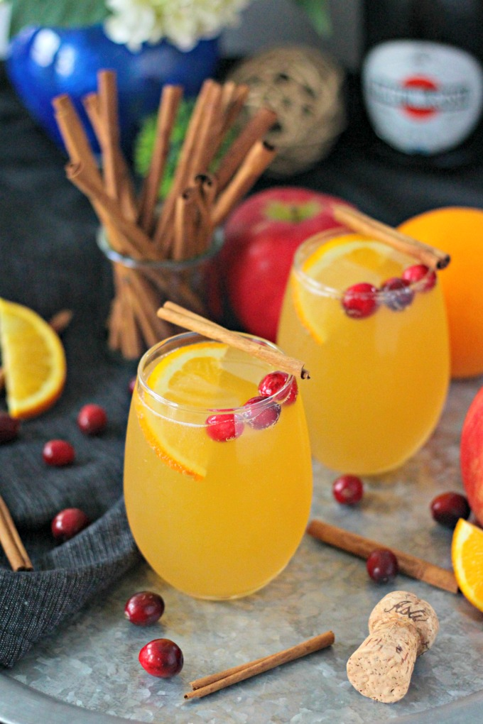 Homemade Apple Cider Mimosas