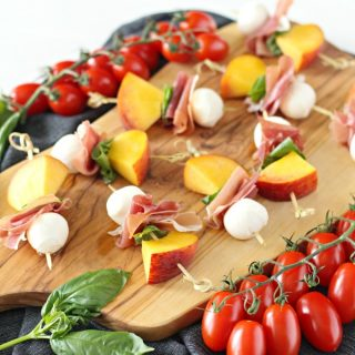 Peach, Prosciutto and Mozzarella Skewer with Balsamic Glaze