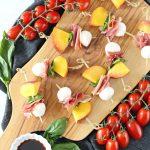 Peach, Prosciutto and Mozzarella Skewer with Balsamic Glaze