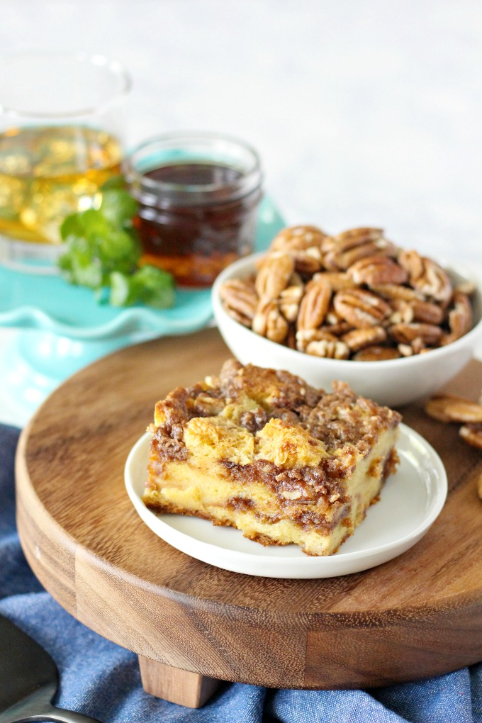 Bourbon Pecan French Toast Casserole made with Cinnamon Pecan Crumble Topping and drizzled with Bourbon Maple Syrup